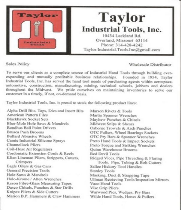 Taylor Product Sheet Sheet